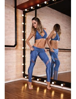 legging lace azul